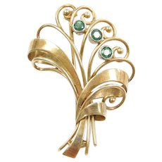 Vintage 14k Gold Emerald Pin / Brooch