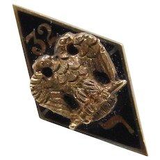 Edwardian 14k Gold 32 Enamel Hat Pin ~ Masonic, Freemason