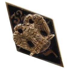 Edwardian 14k Gold 32 Enamel Hat Pin ~ Masonic, Freemason