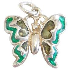 Sterling Silver Green Enamel Butterfly Charm