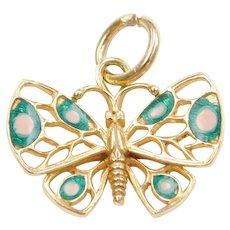 14k Gold Enamel Polka Dot Butterfly Charm