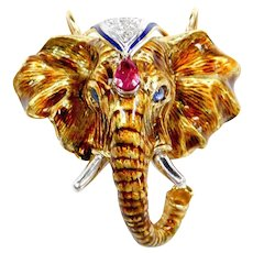 STUNNING Handmade Detailed Guilloche Enamel Elephant Pendant / Pin 18k Gold & Platinum with Natural Sapphire, Ruby and Diamonds