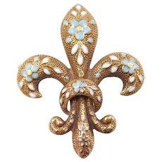 Art Nouveau 14k Gold Enamel Fleur De Lis Pin / Pendant
