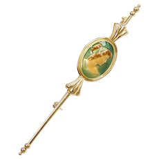 18k Gold Long Enamel Cameo Style Stick Pin / Brooch