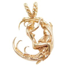 14k Gold Erotica Nude with Crescent Moon Charm / Pendant