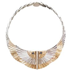 Erte NILE 14k Gold and Sterling Silver Egyptian Wing Bib Necklace ~ Sapphire and Diamond Accents