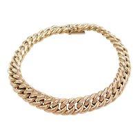 """Vintage 14k Gold Etched Curb Link Bracelet ~ 7 1/4"""""""