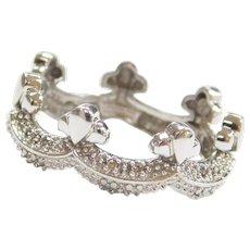 14k White Gold .11 ctw Diamond Crown Eternity Ring