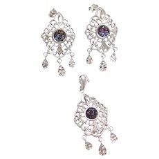 Titanium Druzy Chandelier Earrings and Pendant Set 10k White Gold