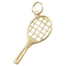 Tennis Racket Sport Charm 14k Gold