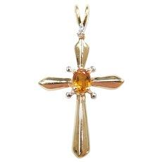 Citrine and Diamond .16 ctw Cross Pendant 10k Gold Two-Tone