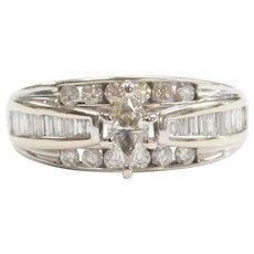 Diamond .98 ctw Engagement Ring 14k White Gold
