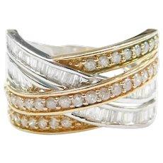 Diamond 1.40 ctw Crisscross Band Ring 10k Gold Two-Tone