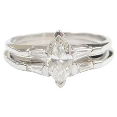 Vintage Diamond 1.06 ctw Marquise Engagement Ring and Wedding Band 14k White Gold