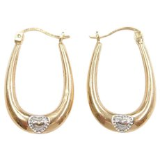 Oval Hoop Earrings with Heart Accent 10k Gold Two-Tone