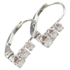 Diamond .21 ctw Past, Present and Future Lever Back Earrings 10k White Gold