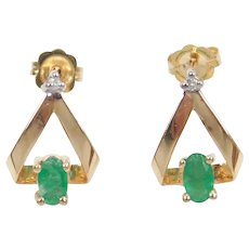 Natural Emerald and Diamond .555 ctw Earrings 14k Gold