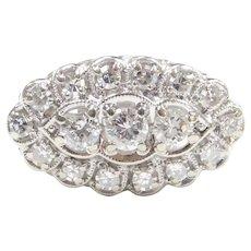 Vintage Diamond .89 ctw Navette Ring 14k White Gold