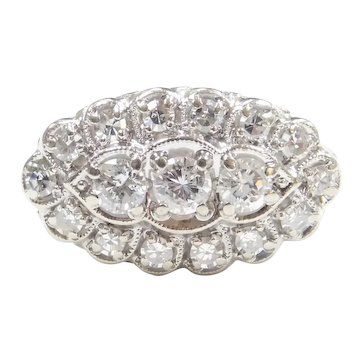 Vintage Diamond .89 ctw Navette Ring 14k White Gold