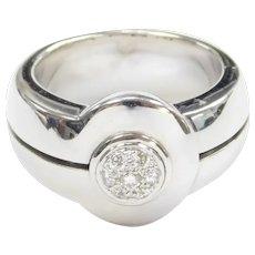 Diamond Pave .12 ctw Designer Ring 18k White Gold Di Modolo Tempia