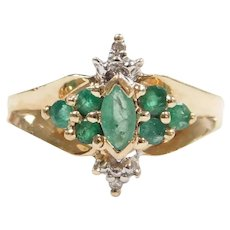 Natural Emerald and Diamond .36 ctw Ring 10k Gold Two-Tone