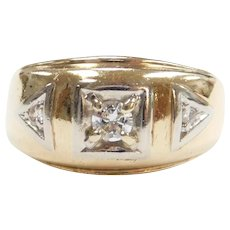 Vintage Gents Diamond .22 ctw Band Ring 10k Gold Two-Tone ~ Men's