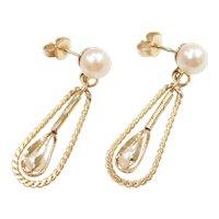 Vintage Cultured Pearl Dangle Earrings 14k Gold