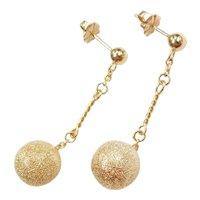 Textured Disco Ball Dangle Earrings 14k Gold