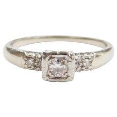 Vintage Diamond .20 ctw Illusion Head Engagement Ring 14k White Gold