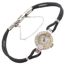 Vintage Diamond .71 ctw Ladies Watch 14k White Gold ~ Wristwatch with Black Strap