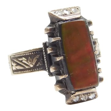Victorian Ammolite and Diamond .10 ctw Ring 10k Rose Gold