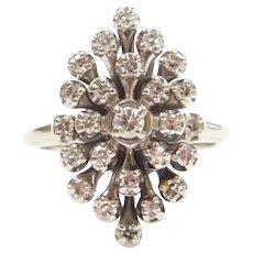 Vintage Diamond .48 ctw Navette Shape Cluster Ring 14k White Gold