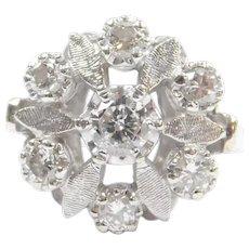 Vintage Diamond .99 ctw Flower Ring 14k White Gold