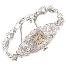 Art Deco Diamond 2.15 ctw Ladies Wrist Watch 14k White Gold and Platinum