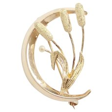 Victorian Crescent Moon Cattail Pin / Brooch 10k Gold