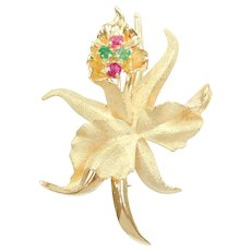Retro Ruby and Emerald .44 ctw Orchid Flower Pin / Brooch 18k Gold Made In France