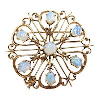 Edwardian Opal Ornate Pendant / Pin / Brooch 14k Gold