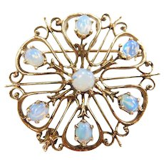 Edwardian Opal Ornate Pendant / Pin / Brooch 14k Gold