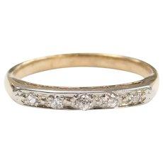 Edwardian Diamond .10 ctw Wedding Band Ring 14k Gold and Platinum