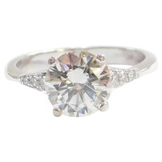GIA Certified Diamond 2.02 Carat Platinum Engagement Ring ~ 2.11 ctw