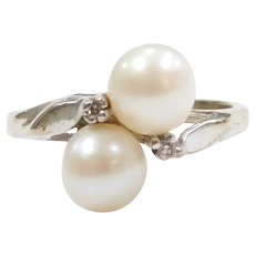 Vintage Cultured Pearl and Diamond .02 ctw Bypass Ring 14k White Gold