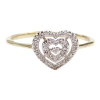 Dainty Diamond .04 ctw Heart Ring 10k Gold Two-Tone