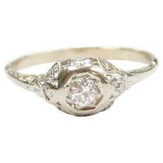 Art Deco Diamond .19 ctw Filigree Engagement Ring 14k White Gold