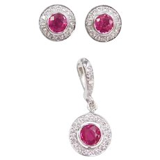 Stunning Natural Ruby and Diamond 1.50 ctw Halo Pendant and Stud Earrings Set 18k White Gold