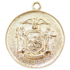 14k Gold New York Coat of Arms Excelsior Charm