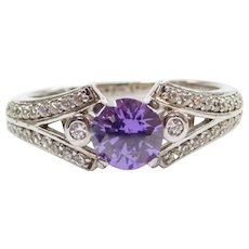 Sterling Silver .92 ctw Faux Amethyst and Faux Diamond Ring