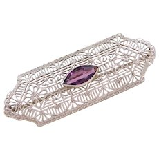 Art Deco 10k White Gold Faux Amethyst Pin / Brooch