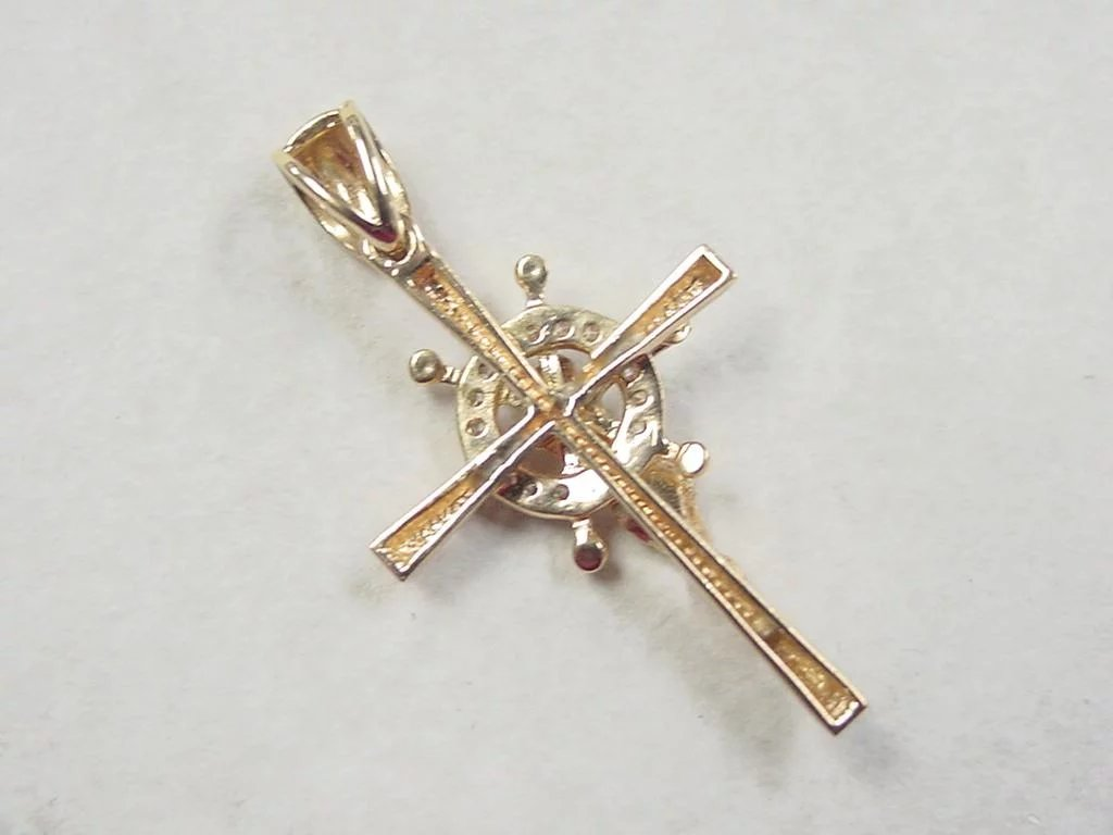 Vintage 18k Gold Crucifix With Ships Wheel Pendant Arnold