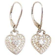 Sterling Silver Faux Diamond Heart Lever Back Dangle Earrings