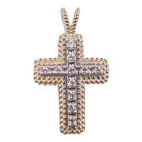 Vintage 14k Gold Two-Tone Faux Diamond Cross Pendant